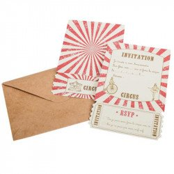 "Invitations + Enveloppes Vintage ""Circus"" (x8) - Rouge"