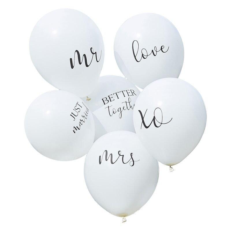 Ensemble de ballons de mariage blanc (x6)