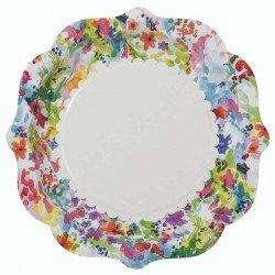Assiette blanche et fleurie multicolore (x8)