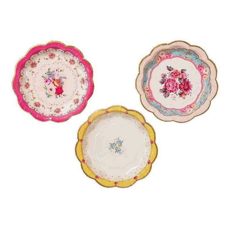 Assiettes creuses fleuries -12 unités