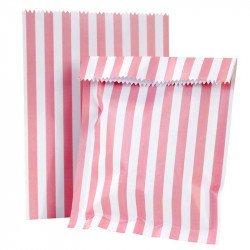 sacs à cadeaux rayure roses et blancs (x12)
