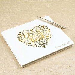Livre d'or ivoire motif coeur doré