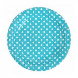 Assiettes à pois (x10) - Turquoise