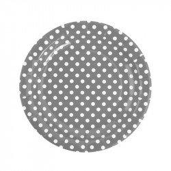 Assiettes à pois gris (x10)