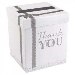 """Urne/Tirelire cadeaux Vintage """"thank you"""" argent"""