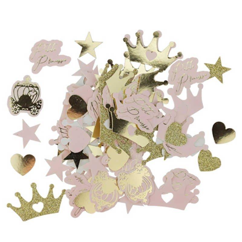 100 confettis Princesse rose paillettes or et dorure