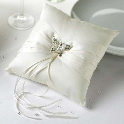 Coussin satin alliances Papillon Strass