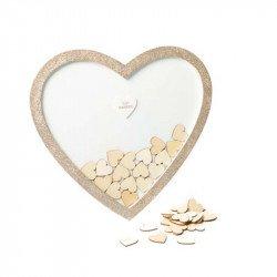 Livre d'or cadre forme coeur paillettes champagne- 60 coeurs bois