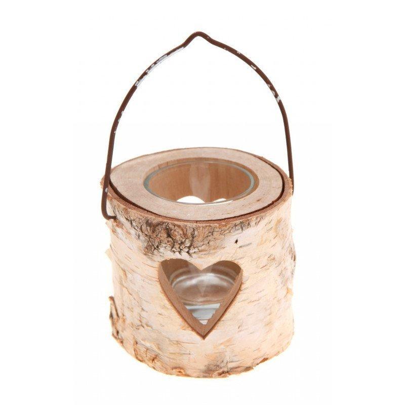 Photophore bois motif coeur