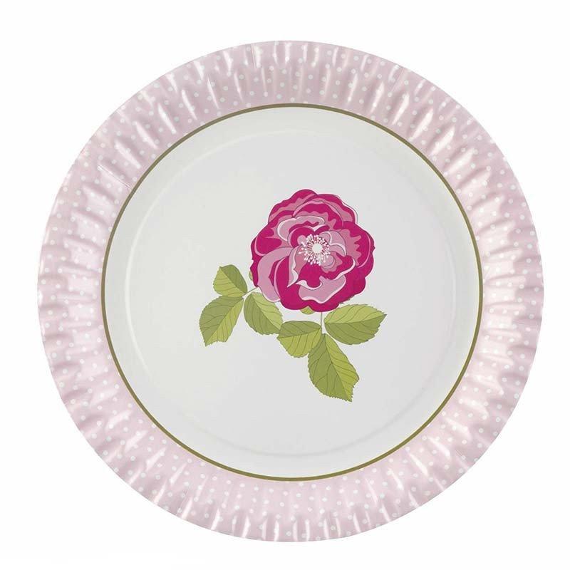 Assiette vintage rose (x8)