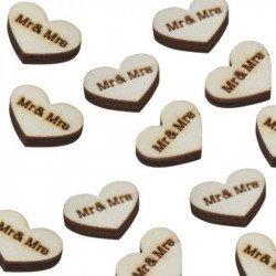 Coeurs en confettis bois (x25)