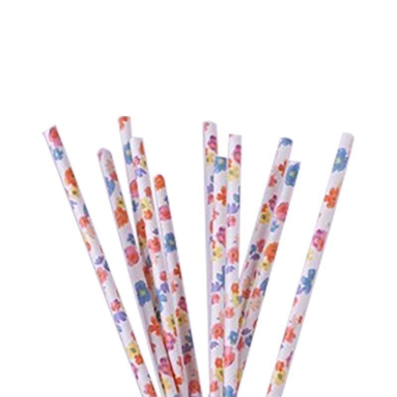 Pailles fleurs multicolores (x24)