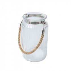 lanterne en verre et anse en corde