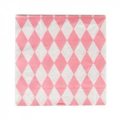 Serviettes tendres losanges (x20) - Rose pastel