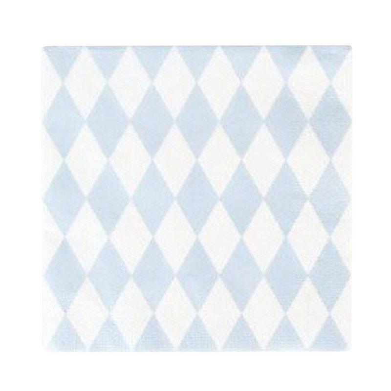 Serviettes tendres losanges bleu ciel (20)