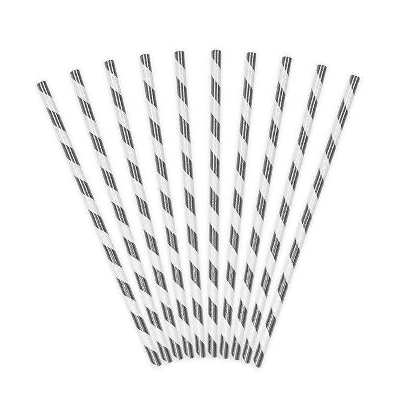 Pailles métallisées rayures argent (x25)