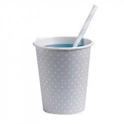 Gobelets bleu ciel à pois blanc rétro (x8)
