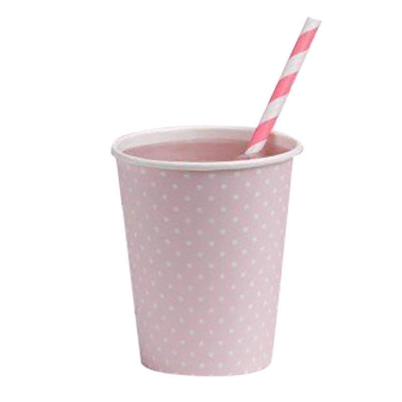 Gobelets rose à pois blanc rétro (x8)