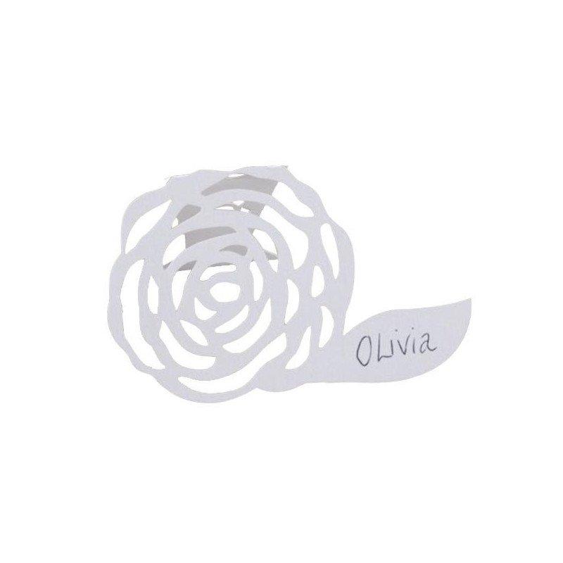 Marque places Vintage Lilas Shabby fleuri blanc (x10)