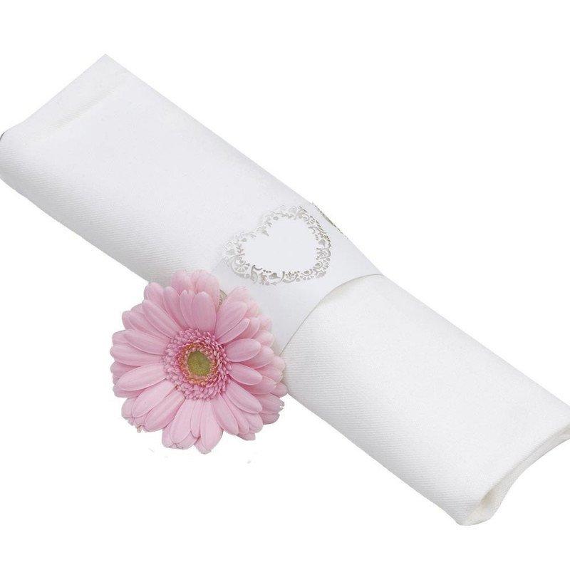 rond de serviette fleur rose (x10)