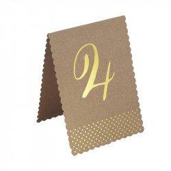 Numéros de table kraft et doré