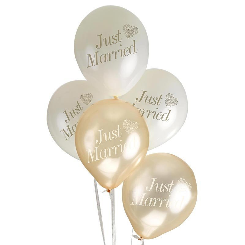 ballons just married coeur or (x8)