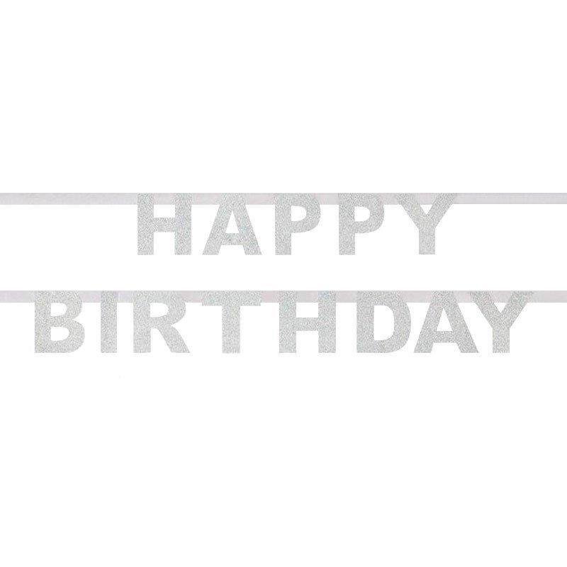 guirlande Happy Birthday - argent