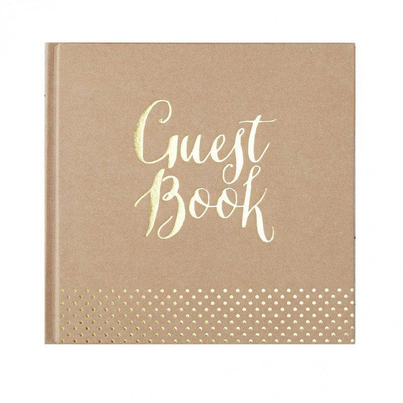 """Livre d'or Kraft écriture """"guest book"""" et pois doré"""