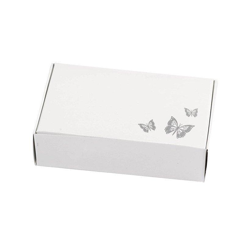 Boîte blanche moitif Papillon gris (x10)