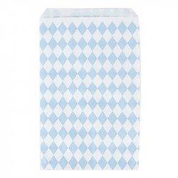 Sacs cadeaux tendres losanges (x10) - Bleu ciel