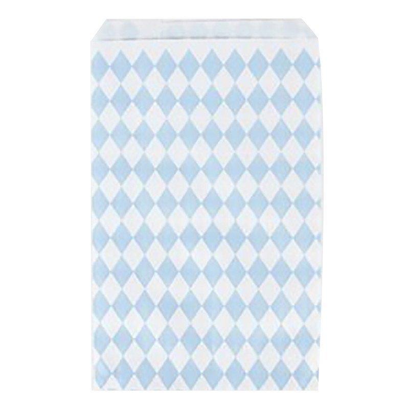 Sacs cadeaux tendres losanges bleu ciel (x10)