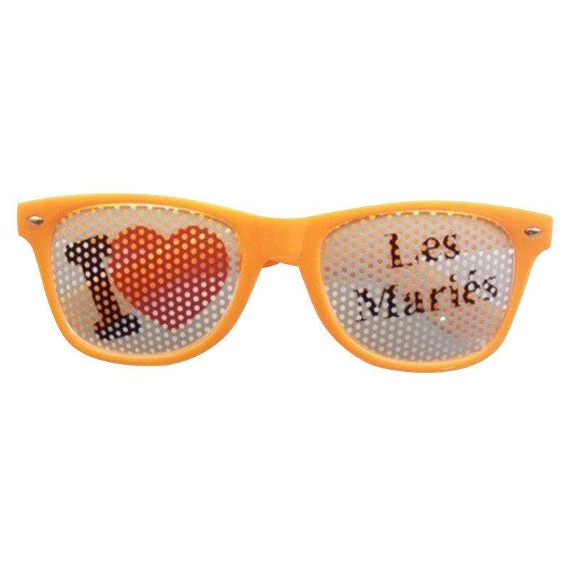 Lunettes Fun J'aime Les mariés orange