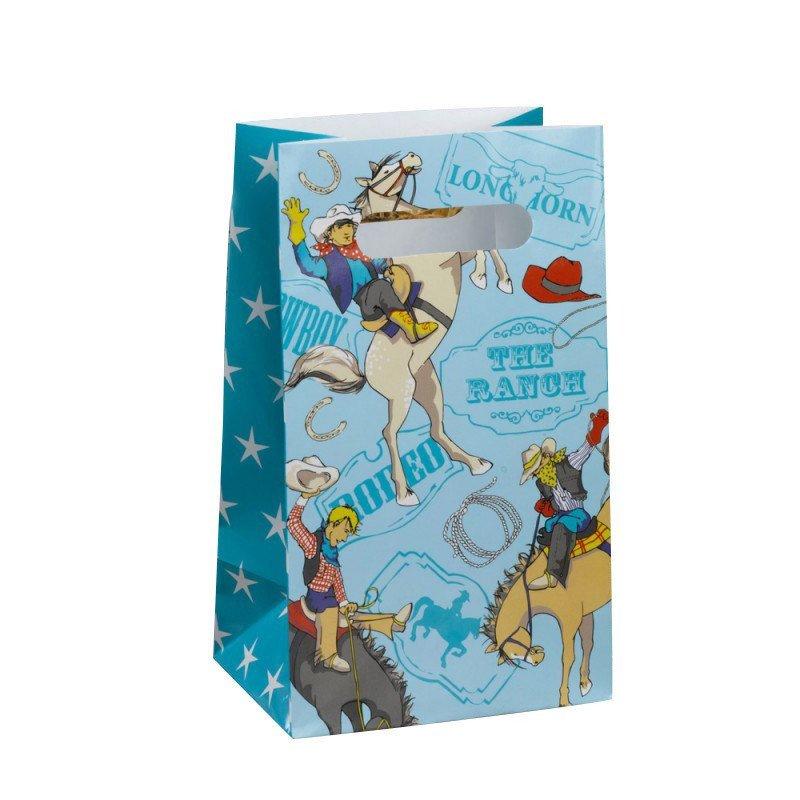 Sac bonbons cowboys bleu (x5)