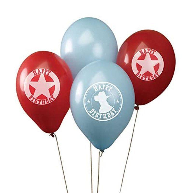 Ballons Cowboy rouges, bleus et blancs avec motifs (x8)