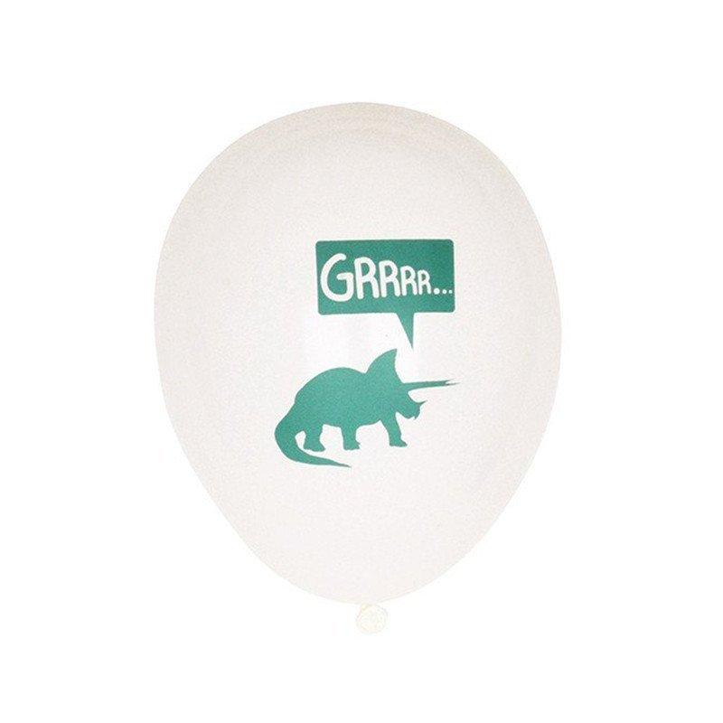 Ballon dinosaure anniversaire garçon blanc et menthe (x5)