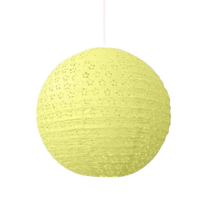 Lampion dentelle jaune pâle - 30 cm