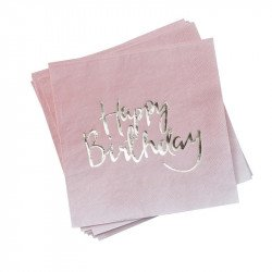 "Serviettes roses ""Happy Birthday"" (x20)"