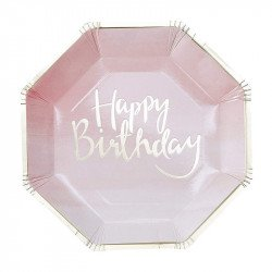 "Assiettes roses ""Happy Birthday"" (x8)"
