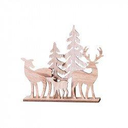 Famille Cerf, Biche & Sapins - 20 cm