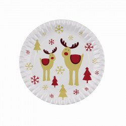 Assiettes Noël Rudolf le cerf (x8)