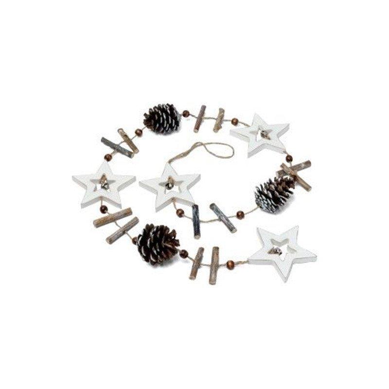 Guirlande en bois étoiles et pins -1 pièce