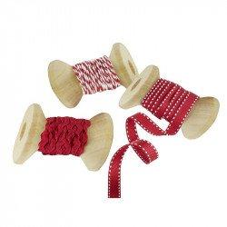 Rubans de Noël rouges -3  unités