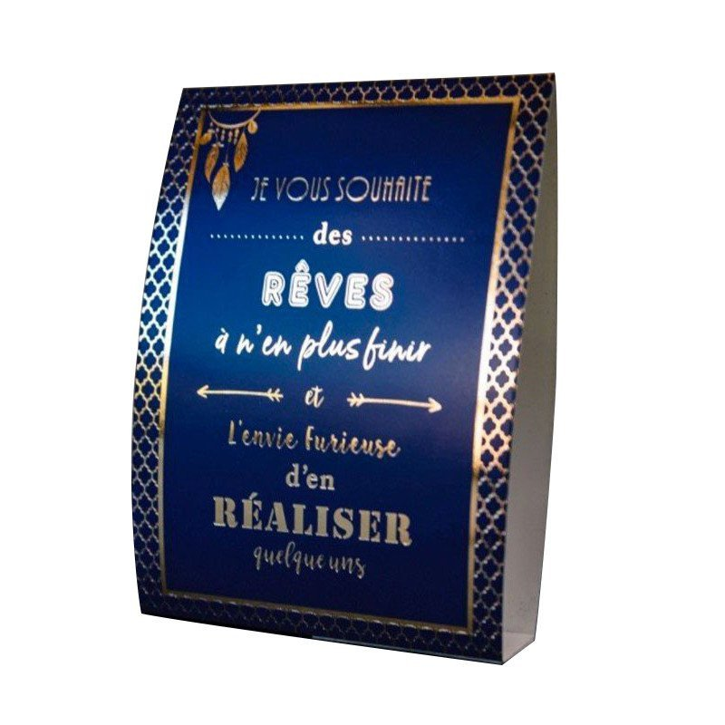 "5 cartons de table ""citations"" bleu nuit & or"