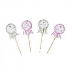 Pics à cupcake Shabby fleuri (x20)