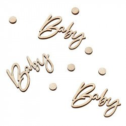 "Confettis en bois ""Baby"" (x18)"