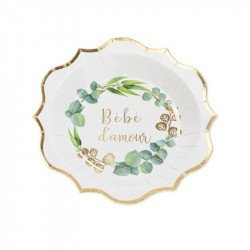 """Assiettes """"Bébé d'Amour"""" (x8)"""