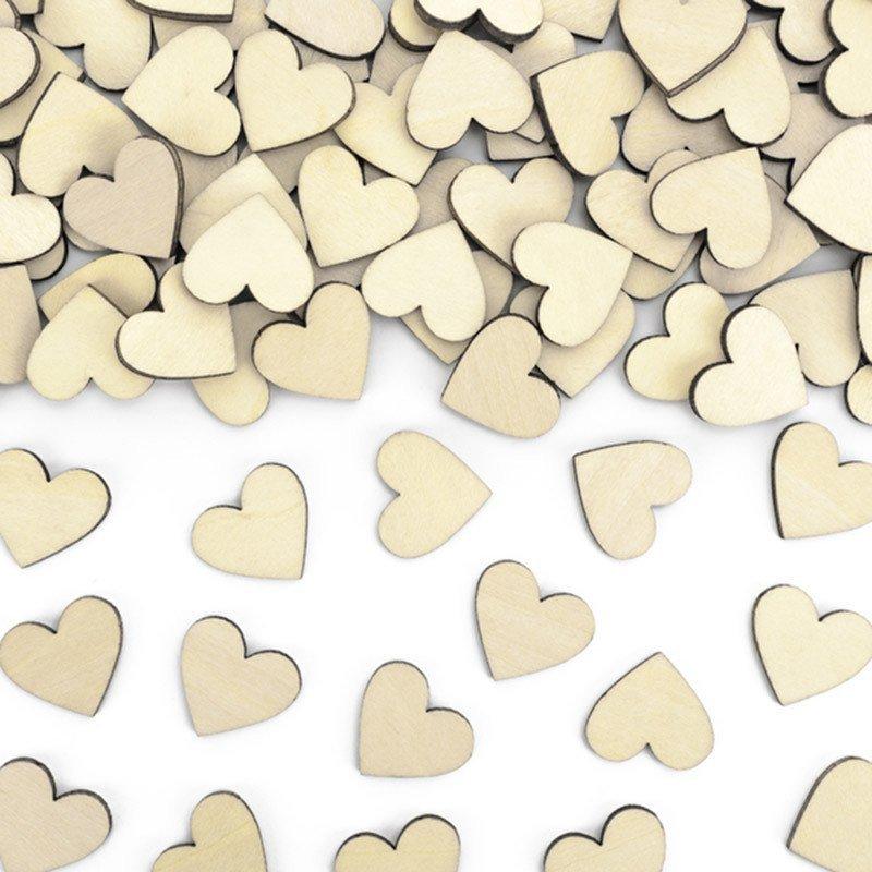 Confettis Coeurs Bois