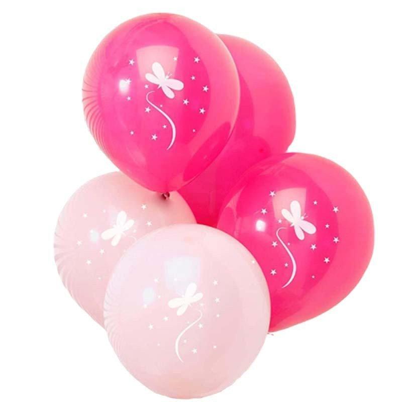 Ballons roses pales et fushias avec motif papillon blanc (x8)
