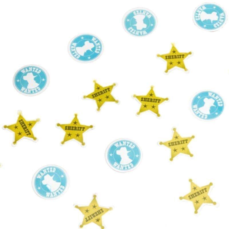 Confettis cowboy étoiles de shérif dorées et wanted bleus et blancs ronds