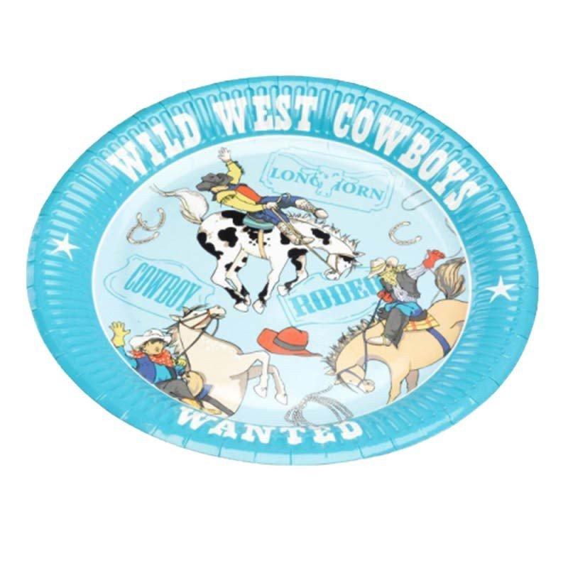 """Assiette """"cowboy"""" en carton bleue (x8)"""